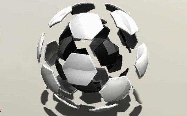 Zaprojektowano w SolidWorks: piłka jest okrągła a bramki są dwie
