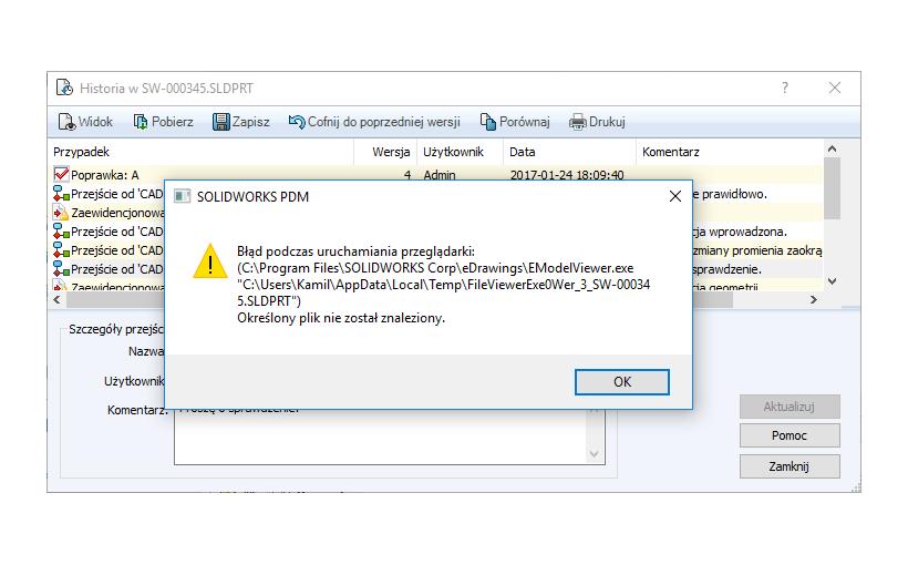 SOLIDWORKS PDM a podgląd plików CAD – błąd uruchomienia przeglądarki