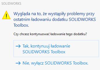 Problem z ładowaniem dodatku SOLIDOWRKS Toolbox