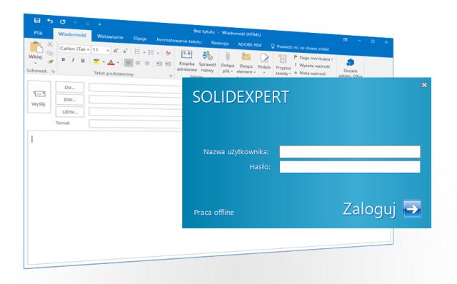 Okno logowania SOLIDWORKS PDM podczas pisania nowej wiadomości w Outlook 2016