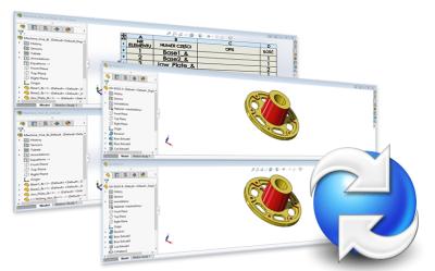 Narzędzie porównania wersji plików SOLIDWORKS w przechowalni PDM
