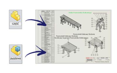 SOLIDWORKS: przypisywanie właściwości części lub złożenia do rysunku