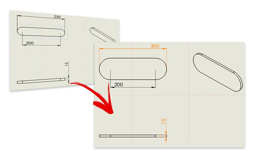 SOLIDWORKS: podświetlanie zmienionych wymiarów na rysunku