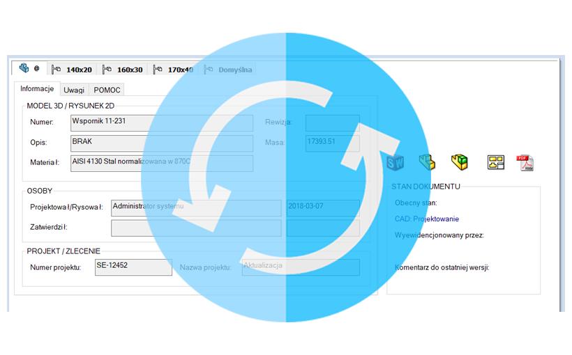 SOLIDWORKS PDM: Aktualizacja wartości zmiennych na kartach danych plików