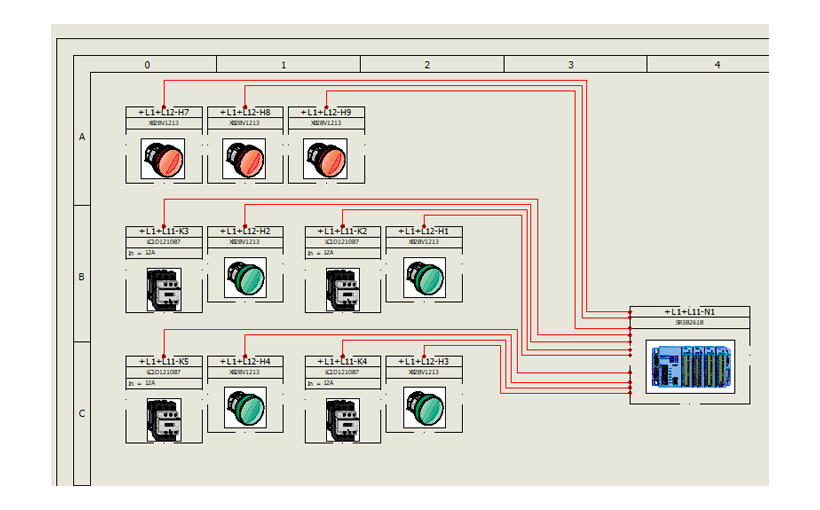 SOLIDWORKS Electrical – Oznaczenia wierszy i kolumn na rysunku identyfikowane za pomocą liter