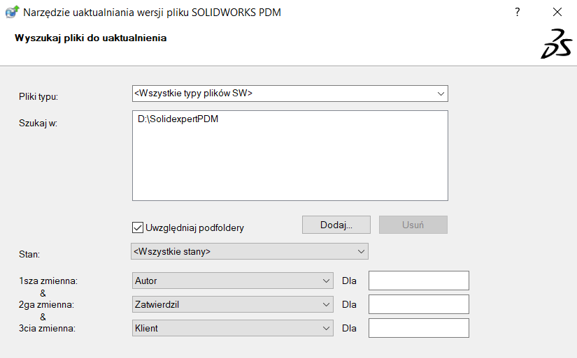 SOLIDWORKS PDM – Aktualizacja plików SOLIDWORKS do nowszej wersji