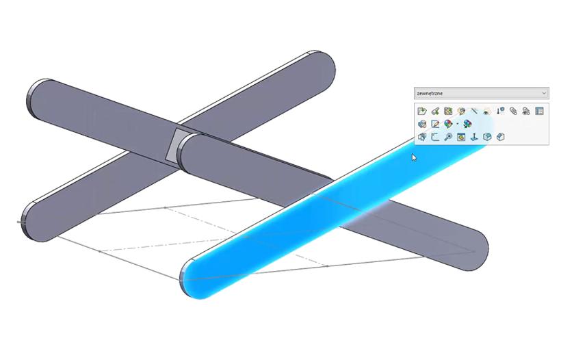 SOLIDWORKS – Modelowanie i edycja części w kontekście złożenia (modelowanie TOP DOWN)