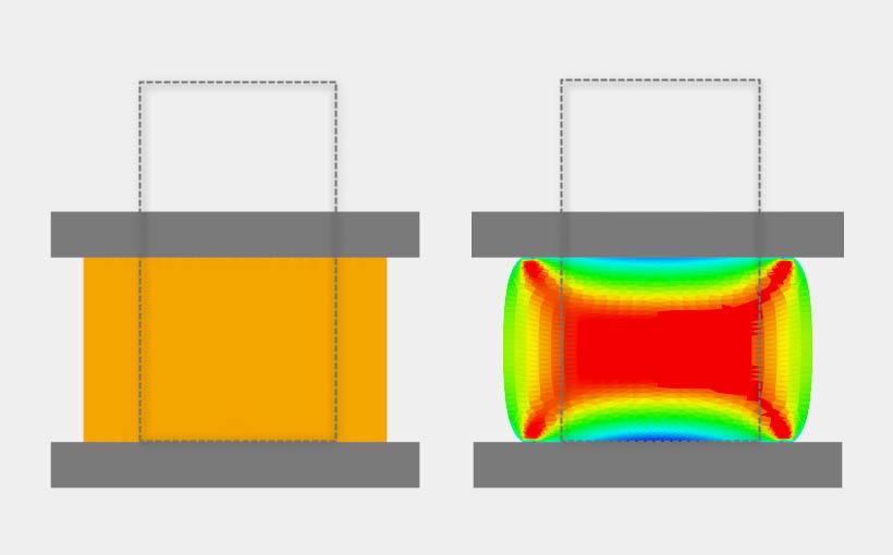 Modelowanie tarcia – spęczanie próbki cylindrycznej.