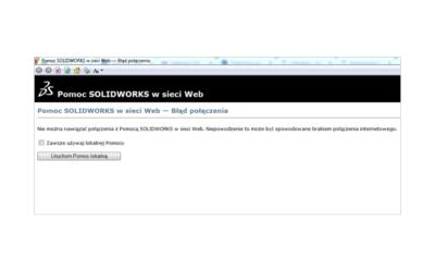 Pomoc online SOLIDWORKS – Błąd połączenia