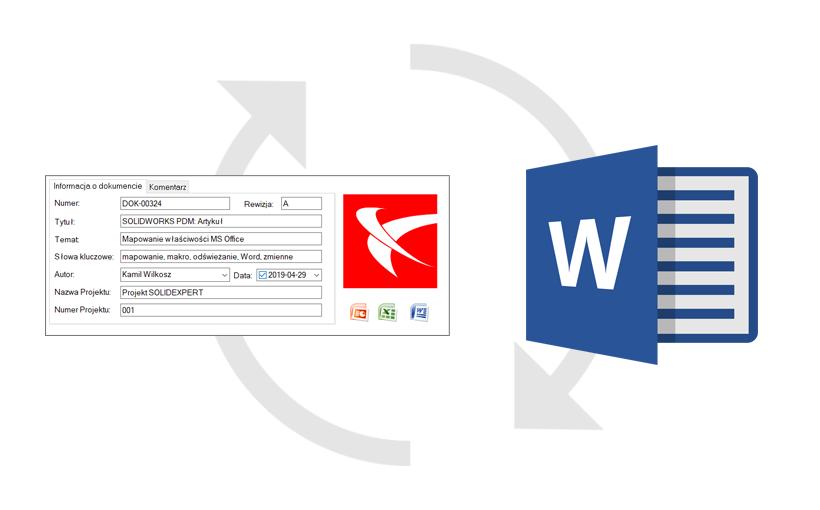 """SOLIDWORKS PDM: Odświeżanie zmapowanej zawartości MS Word wSOLIDWORKSPDM za pomocą makra (""""AutoOpen"""")"""