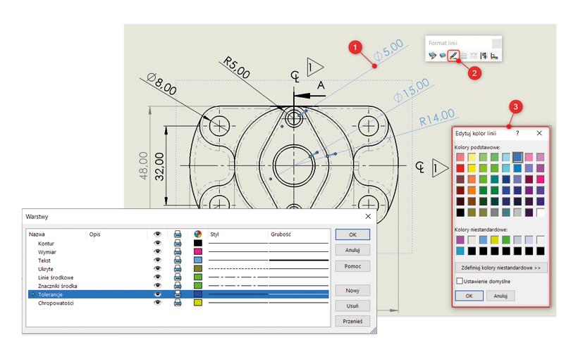 Dostosuj swoje rysunki SOLIDWORKS za pomocą paska narzędzi Format linii oraz Warstwa