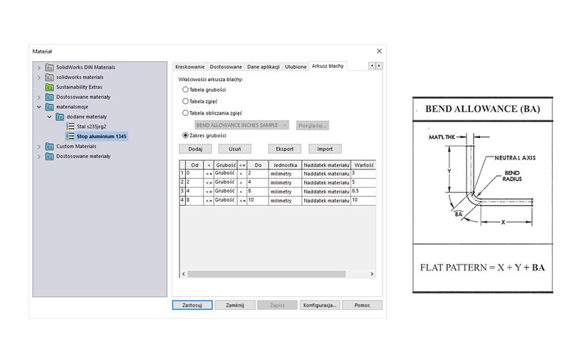 SOLIDWORKS – Własna baza materiałów i naddatek materiału w arkuszach blach