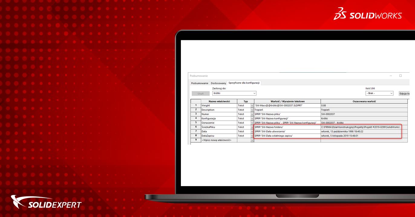SOLIDWORKS – Informacje dotyczące pliku we właściwościach dostosowanych (formuły)