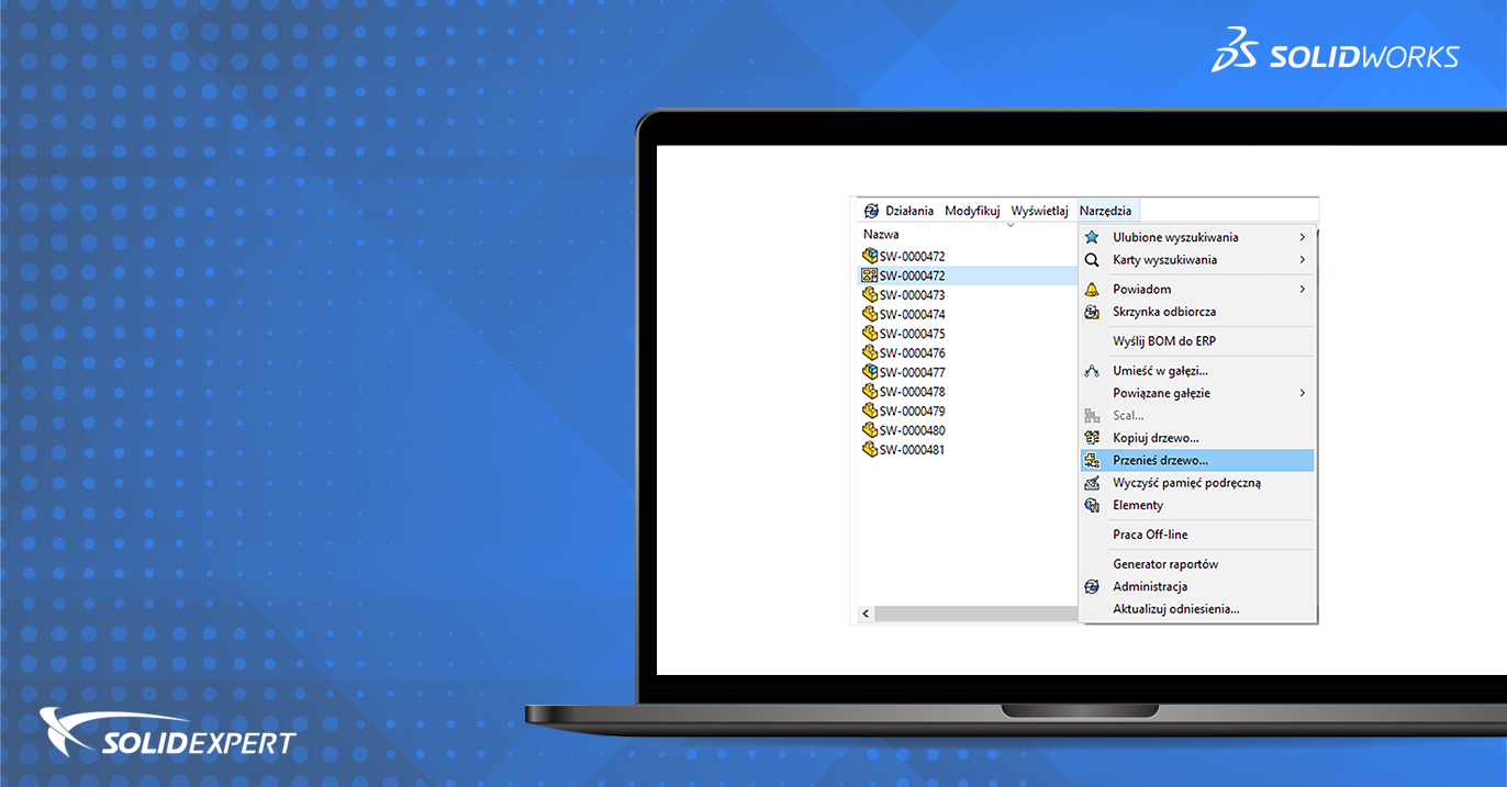 SOLIDWORKS PDM – Numerator seryjny w trybie offline – wykorzystanie narzędzia Przenieś Drzewo