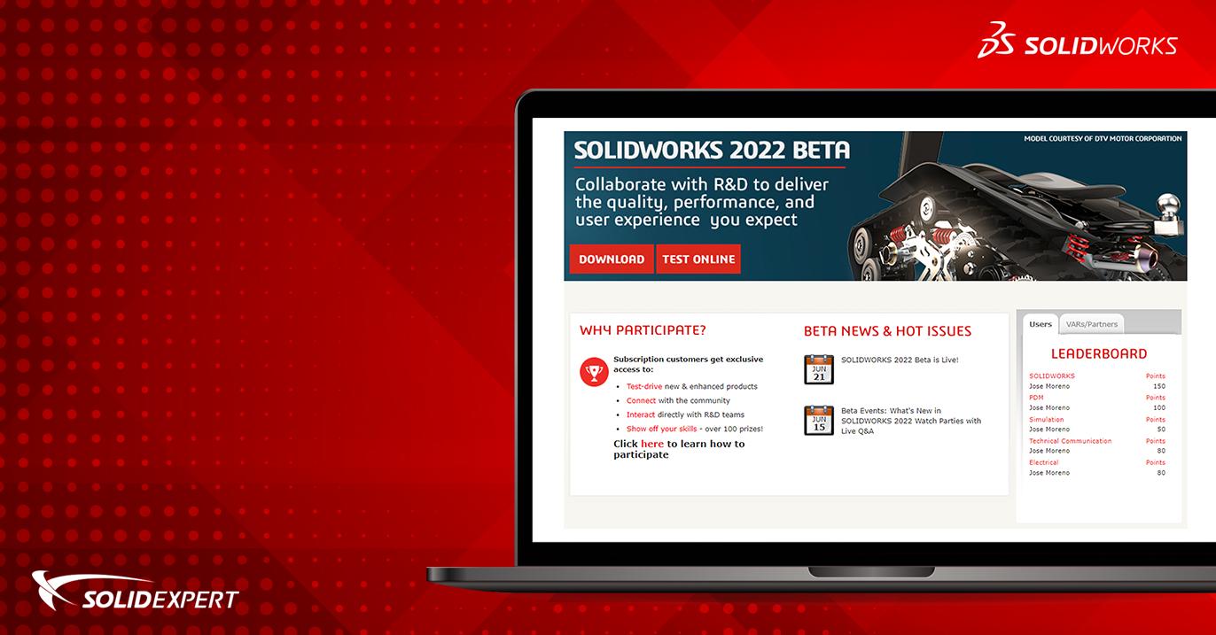 SOLIDWORKS BETA 2022 – Testy wystartowały   Weź udział i zdobądź nagrody