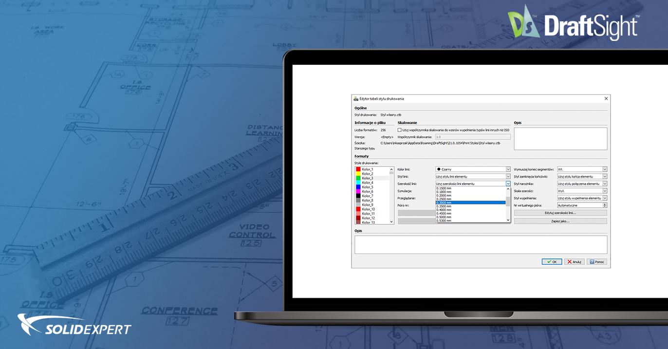 DraftSight – Tabele stylów wydruku